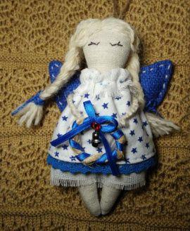 Игрушка подвеска Рождественский ангел (синие крыль в Stranamasterov.by Беларусь.