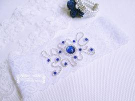 Подвязка невесты Синяя жемчужина - подарок ручной работы на свадьбу Россия.