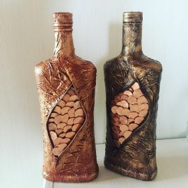 Оформление бутылки Денежная - подарок ручной работы на свадьбу Беларусь.