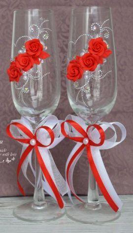Бокалы Красные розы - подарок ручной работы на свадьбу Россия.