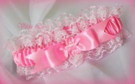 Подвязка Розовый зефир - подарок ручной работы на свадьбу Беларусь.