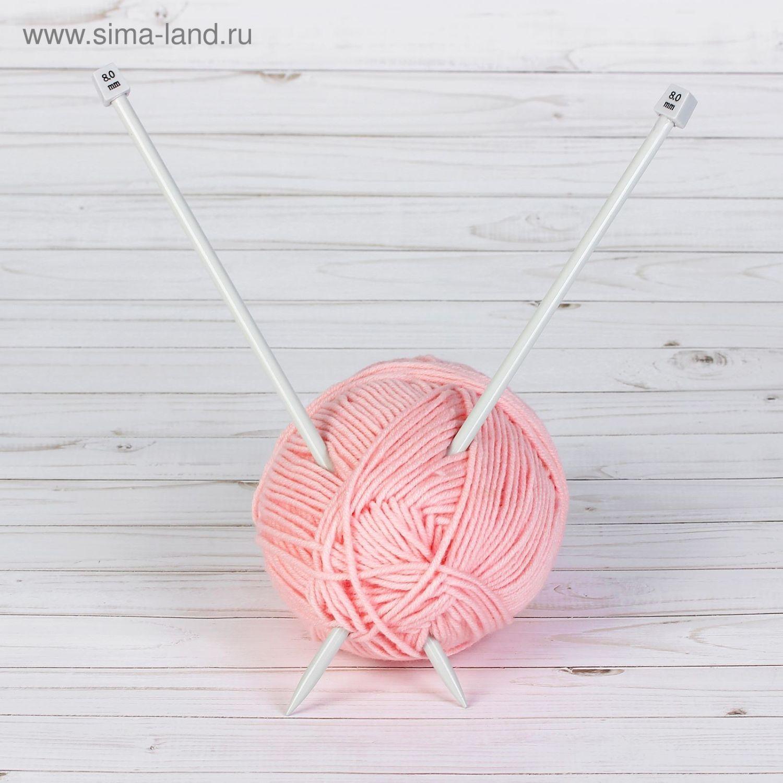 Спицы для вязания, прямые, с тефлоновым покрытием, d = 8мм, 35см, 2шт, АРТ УЗОР