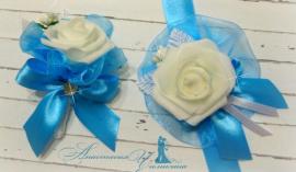 Бутоньрка для свидетелей Небесная - подарок ручной работы на свадьбу Беларусь.
