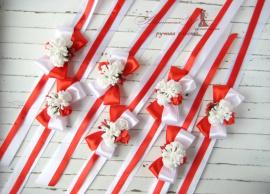 Браслеты для подружек невесты Красные - подарок ручной работы на свадьбу Беларусь.