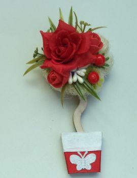 Магнит-топиарий Красная роза в Stranamasterov.by Беларусь.