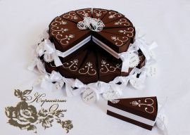 Бонбоньерка Шоколадный торт - подарок ручной работы на свадьбу Беларусь.