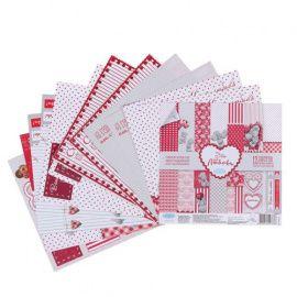 """Набор бумаги для скрапбукинга, """"Это-моя любвоь"""", 12 листов, 15.5*15.5см, 180 г/м2, 1445773, ME TO YOU Беларусь."""