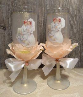 Свадебный набор Чайная роза - подарок ручной работы на свадьбу Беларусь.