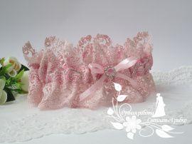 Подвязка невесты Пудра - подарок ручной работы на свадьбу Россия.