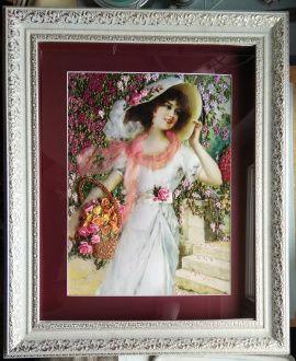 Картина Дама с корзиной роз в Stranamasterov.by Беларусь.