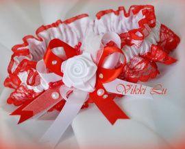 Подвязка Алая кайма - подарок ручной работы на свадьбу Беларусь.