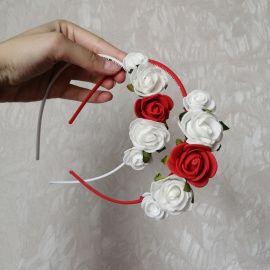 Ободок на один бок Белые и красные розочки в Stranamasterov.by Беларусь.