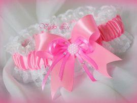 Подвязка Розовый бантик - подарок ручной работы на свадьбу Беларусь.
