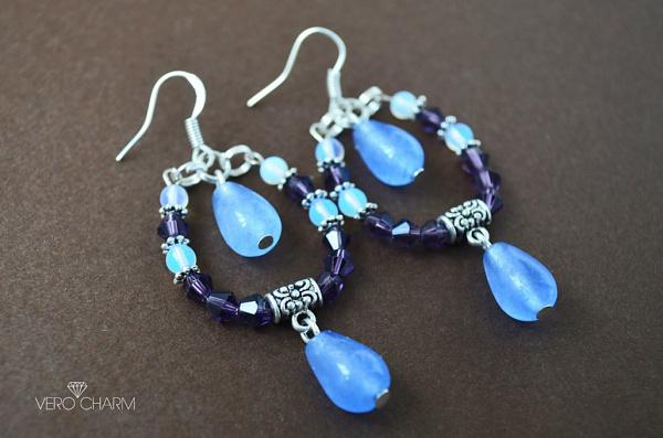 Серьги с натуральными камнями Blue and Violet в Stranamasterov.by