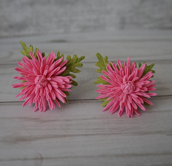 Резинка для волос (пара) Хризантемка розовая в Stranamasterov.by