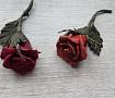 Брошь, цветы из кожи Красная роза в Stranamasterov.by