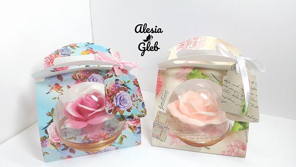 Сувенирное мыло Роза в куполе + упаковка в Stranamasterov.by