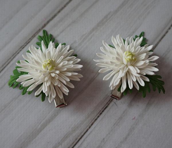 Заколка для волос (пара) Хризантемка белая в Stranamasterov.by