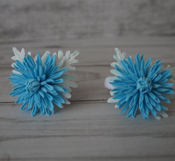 Резинка для волос (пара) Хризантемка голубая в Stranamasterov.by