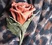 Брошь, цветы из кожи Чайная роза в Stranamasterov.by
