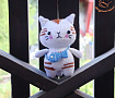 Вязаная игрушка Котик с сумочкой в Stranamasterov.by