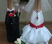 Свадебная атрибутика Одежка для бутылок ручной работы. Подарок на свадьбу. Вот что нужно дарить!