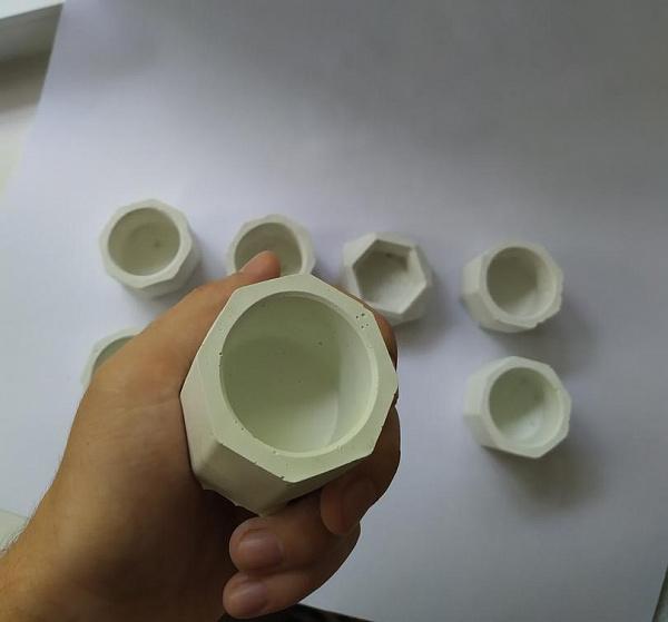 Кашпо из белого бетона Для суккулентов и идей в Stranamasterov.by